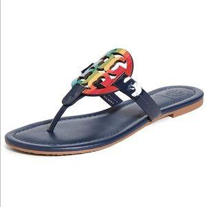 Tory Burch Miller navy blue rainbow sandals size 9